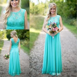 Wholesale Turquoise Made Honor Dresses - 2018 New Turquoise Bridesmaids Dresses Sheer Jewel Neck Lace Top Chiffon Long Country Bridesmaid Maid of Honor Wedding Guest Dresses CPS574