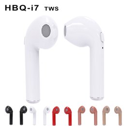 Wholesale Red Wireless Headphones - HBQ I7 TWS Twins Mini Bluetooth Earbuds Wireless Invisible Headphones Headset with Mic Stereo V4.2 Earphone for Iphone Android with Package