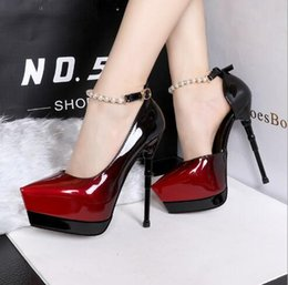 Wholesale Korean Fashion Sexy - 219-11 Korean fashion pointed high-heeled shoes high-heeled shoes sexy gradient color high-heeled waterproof table string beads single shoes