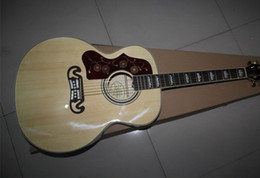 Wholesale Maple Acoustic - Left Handed On Sale Nature Burlywood Spruce Top J200 Maple Sides & Back Acoustic Guitar China Custom Factory Free Shipping