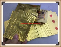 Wholesale 24k Gold Plated Playing Cards - 24K Gold Foil Plated Poker Playing Cards Karat Golden Foil Plated Poker Playing Cards Game US Dollor Collection,card online games,gold Playi