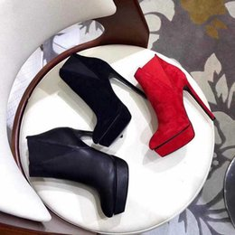 Wholesale Red Suede Platform Heels - Fashion Womens High Heel 130mm Autumn Winter Boot Platforms Sheepkin Leather Ladies Ankle Thin Heels Slip-On Boots Original Box Size 35-40