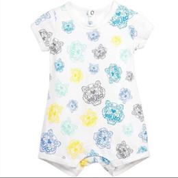 Wholesale Girls Summer Clothes Retail - Retail summer short sleeve Baby romper Printing round neck cotton children clothes dichroic girl boy infant romper