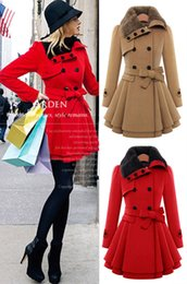 Wholesale Thick Nylon Belts - European American Women Double Breasted Fur Turtleneck Wool Coat Plus Size Long Tunic Skirts Coats Warm Outerwear Winter Overcoat With Belt