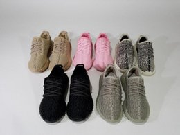 Wholesale Oxford Lace Up Shoes Girl - Kids Boost 350 Turtle Dove Pirate Black Moonrock Oxford Tan Pink Boy Girls Running Shoes Children Kanye West Boosts 350 Athletics Shoes