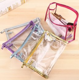 Wholesale Transparent Clutch Bags - New Cosmetic bags Pouch Clutch Handbags Waterproof Cosmetic bags Fashion Transparent storage bags Transparent cosmetic bags D494 70pcs