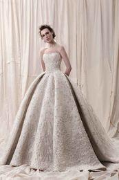 Wholesale Sweetheart Neckline Summer Wedding Dresses - Arab Dubai Ball Gown Heavily Embroidery Wedding Dresses 2018 Krikor Jabotian Bridal Strapless Neckline Wedding Gowns