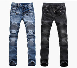 Wholesale European Straight - Fashion Men's foreign trade light blue   black jeans pants motorcycle biker men washing to do the old fold Trousers Casual Runway Denim