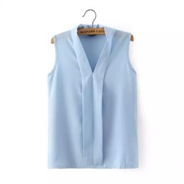 Wholesale Low Cut V Neck Shirts - Women plus size V neck summer blouses low cut sleeveless shirts Blusas Femininas European casual tops solid tee