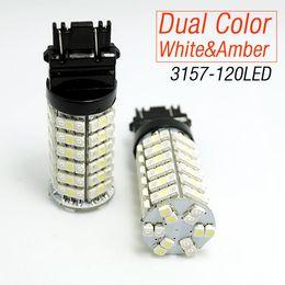Wholesale Led Light Bulbs Toyota Camry - LEEWA 120SMD-1210 T25 3157 3057 3457 4157 White Amber Yellow Dual Color LED Turn Signal Light Bulbs SKU#:4006
