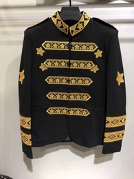 Wholesale Male Lycra - 2017 Winter Luxury Men Suit Male Blazers Slim Fit Suits Men Costume jacket Gold stars embroidery coat Classic Black Men's Coats & Jackets