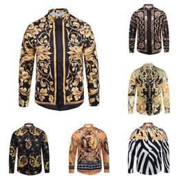 Wholesale Satin Dragon - Wholesale ktv Famous Brand design clothes men galaxy golden dragon flower print long sleeve 3d shirt Baroque printing Medusa Shirt