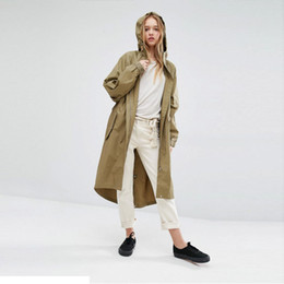 Wholesale Summer Trench Coat Women - Summer Brief Women Coat Solid Color Casual Drawstring Loose Trench Coat Female Streetwear Hooded Longline tops16231U125