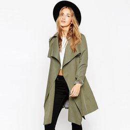 Wholesale Trench Coats For Women Sale - Wholesale-2016 Hot Sale For Women Overcoat Solid Long Sleeve Open Stitch Cardigan Thin Trench Coat C202
