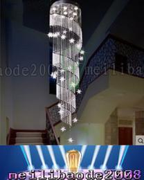 2019 длинная подвесная хрустальная люстра Pl07xy дуплексное вращение привело хрустальная люстра пентхаус лестница лампа освещает длинный подвесной светильник висит линия Вилла отель лобби зал скидка длинная подвесная хрустальная люстра