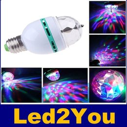 Wholesale E27 Ball - Magic Ball RGB Full Color 3W E27 LED Bulb Crystal Auto Rotating Stage Effect DJ Light Bulb Mini laser Stage Light Projector