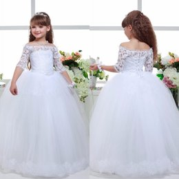 Wholesale Simple New Dress For Girls - 2016 New Long Lace Ball Gown Flower Girls Dresses Simple Kids Wedding Party Dress First Communion Dresses For Girls