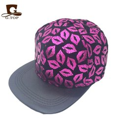 Wholesale Lip Snapback - Wholesale-Unisex All Over Lips Print Flat Bill Visor Snapback Cap Baseball Hat