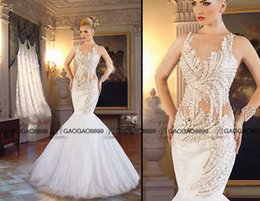 Wholesale Cowl Neck Dresses For Women - Romantic GORGEOUS Mermaid Wedding Dresses 2016 sparkly Crystal Pearls Beaded Lace Women Bridal Gown for foraml party