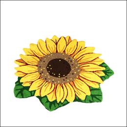 Sticken handblumen online-Neue Hand Süchtig Vivid Sun Flower Mat Living Tür Matten, Neuheit bestickt Veranda Fußmatte Stock Karpet Schlafzimmer Teppiche Geschenk