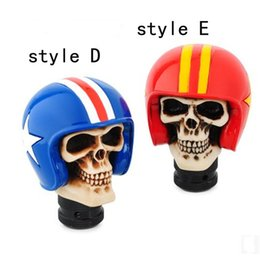 Wholesale Skull Gear Knobs - Universal Rider Helmet Human Wicked Skull Head Gear Shift Knob Shifter Manual Gear Head knob(7 Styles)