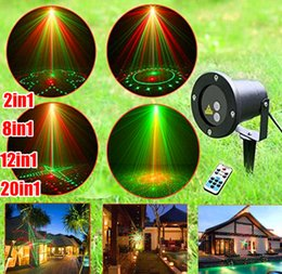 Wholesale laser light projector remote - 2in1 8in1 12in1 20in1 Waterproof Outdoor Laser Stage Lights Red Green dj lighting laser light show projector with without remote controller