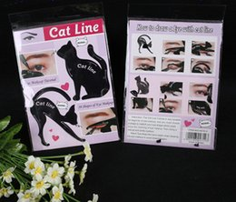 Wholesale Cat Materials - Newest Cat Line Cat Eyeliner Stencil Cat Line Matte PVC Material Repeatable Use Eyeliner Template Plate DHL free shipping