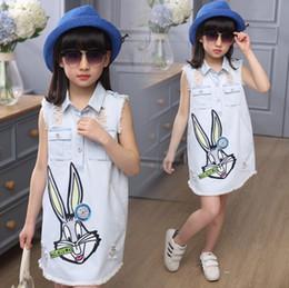 Wholesale bunny collars - Korean Children Clothing Adorable Rabbit Dress Girl's Summer Dresses Sleeveless Bunny Vest Denim Dresses High Quality 6pcs lot Suits 9328