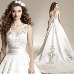 Wholesale Thick Satin Wedding Dresses - New deep v collar princess bride big tail thick satin embroidery wedding dress shoulder strap formal wedding dress
