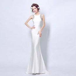 Wholesale Dress Evening Squins - elegant mermaid evening dress with satin jewel crystal squins beading sexy backless zipper floor length cheap free prom dress