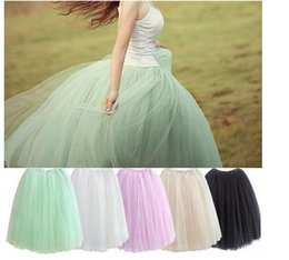 Wholesale Dance Petti Skirt - 2016 Casual Women's Tull Skirt Girl Lady Gauze Tutu Long Dance Wear Lace 5 layers Princess Voile Puffy Petti skirt Bubble Skirt