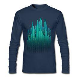 Wholesale Fluorescent T Shirts - Postmodern stripe men unique design shirts fluorescent marvel male long sleeve t-shirts pure cotton tees Big City Light Carnivals dark blue