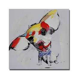 Wholesale pictures cartoon dogs - Free Shipping Little Dog Oil Painting Animal Wall Decor Pictures Bedroom Decoration Modern Painting on Canvas No Framed