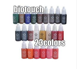 Wholesale Biotouch Cosmetic Tattoo Ink - Wholesale-23pcs biotouch tattoo ink set pigments permanent makeup 15ml cosmetic color tattoo ink for eyebrow eyeliner lip