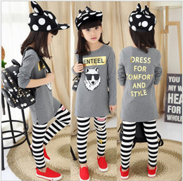 Wholesale Girls Double Breasted Suit Kids - 2016 Big Girls Cartoon Long Sleeve Letters Printed T-shirt+Stripe Pants 2pcs Sets Children Outfits Kids Clothing Girl Casual Suit 110-160cm