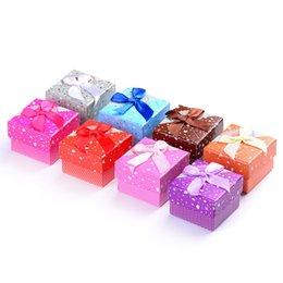 Wholesale Bowknot Colorful Earrings - 5*5cm Colorful Colorful Ring Box Fashion Earring Gift Box Bowknot Ribbon Ribbon Jewelry Box Lot Drop Shipping