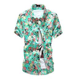 Wholesale Green Hawaiian - Wholesale-Popular Casual Men Hawaiian Short Sleeve Button Down Shirts Floral Beach Shirt Tops Summer H7