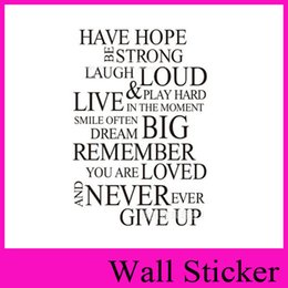 Wholesale Vinyl Wall Art Sayings - ZY8033 Have Hope Loud Never ever Give up English Saying Quote Wall Sticker Vinyl Wall Art Decals Carve and dig Window Car Sticker Home Decor