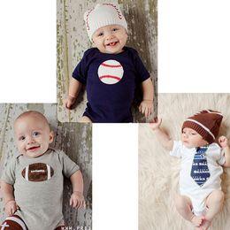 Wholesale Boys Pieces Cloth - 2017 Newborn 3styles Short Sleeve Romper Spring Summer Jumpsuits Bebes Pajama Baseball Football Necktie print One-pieces Cloth