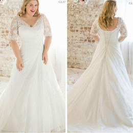 Wholesale Wedding Gowns Size 24 - 2017 New Plus Size Lace Short Sleeve Wedding Dress White Ivory A Line Chiffon Bridal Gown Custom Size 2 4 6 8 10 12 14 16 18 20 22 24 26 28.