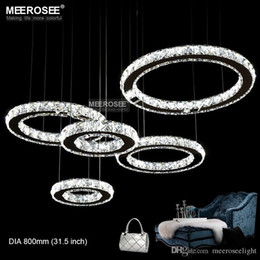 Wholesale Semi Mounts Diamond Rings - LED Chandelier Crystal Diamond Ring LED Lamp Circle Stainless Steel Hanging Light Fixtures Lighting LED Rectangle Cristal Lustre
