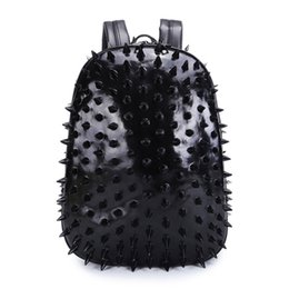 Wholesale Hedgehogs Backpacks - 17925007 Personality 3D PU leather street style Patchwork backpack rivets Hedgehog backpack with apparel bag cross bags Punk hip hop man