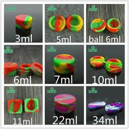 Wholesale Cigarette 6ml - 6+1 Silicone Containers For Wax Containers Silicone Jars 3ml 5ml 6ml 7ml 10ml 22ml Silicone Cases In E-Cigarettes for Glass bong Water Pipe