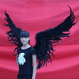 Wholesale Large Halloween Wings - Wholesale adult's Black Large devil feather wings Party Halloween Event Bar stage performance Cosplay props EMS Free shipping