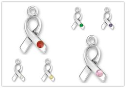 Wholesale Wholesale Ribbon Awareness Charms - Mixed 6 Color Crystal Breast Cancer Awareness Ribbon Charm For Necklace Or Bracelet Making 100pcs lot (184169)