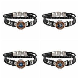 signes chinois: bracelets en cuir Promotion Bracelet En Cuir Zodiac 12 Constellations Signe Noosa Snap Punk Bijoux Faits À La Main En Verre Cabochon Femmes et Hommes En Gros Drop Shipping