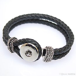 Wholesale China Character Wholesaler - 2016 hot sale real leather bracelet fashion DIY button leather woven ginune snap button bracelet 18mm snap giner button interch