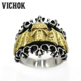 Wholesale Classic Hot Wings - 316 L Stainless Steel ring Cross Skull Wings Finger Ring 2017 new fashion Brand Rings Classic jewelry hot sale menas a gifts VICHOK