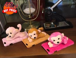 Wholesale 3d Monkey Iphone Case - 3D Cute Cartoon Plush Doll Fur Soft Hard PC Case For Iphone 8 7 7PLUS I7 6 6S Plus Fuzzy Kawaii Monkey Holder Stand phone Skin Cover Luxury