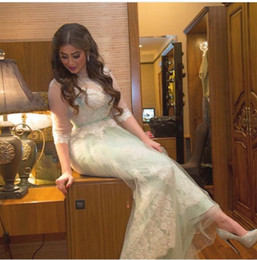 Wholesale mint beaded one shoulder dress - Mint Green Long Prom Dresses A Line Illusion Jewel Lace Beaded Sequined Half Sleeves Sash Peplum Ankle Length Christmas Party Gowns
